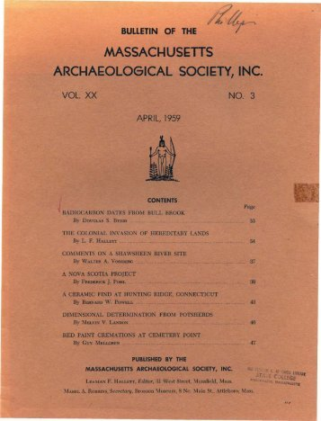 Bulletin of the Massachusetts Archaeological Society, Vol. 20, No. 3 ...