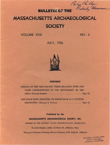 Bulletin of the Massachusetts Archaeological Society, Vol. 17, No. 4 ...