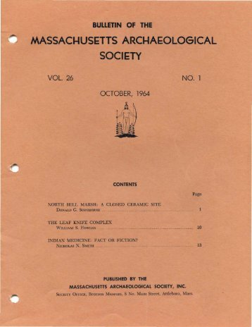 Bulletin of the Massachusetts Archaeological Society, Vol. 26, No. 1 ...