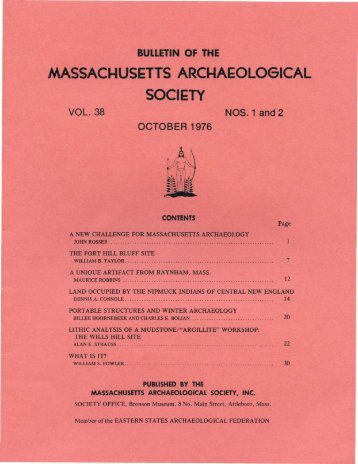 Bulletin of the Massachusetts Archaeological Society, Vol. 38, No. 1 ...