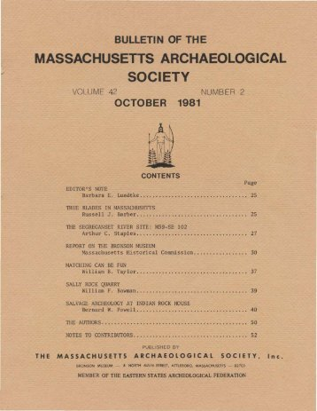 Bulletin of the Massachusetts Archaeological Society, Vol. 42, No. 2 ...