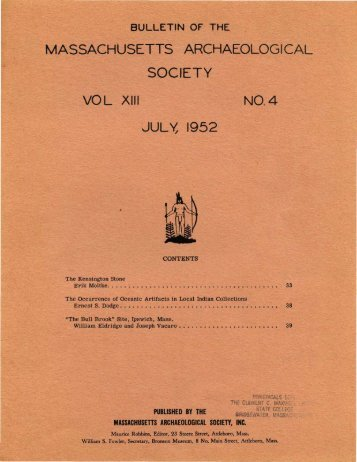 Bulletin of the Massachusetts Archaeological Society, Vol. 13, No. 4 ...