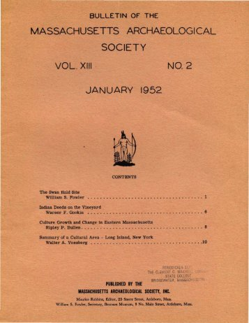 Bulletin of the Massachusetts Archaeological Society, Vol. 13, No. 2 ...