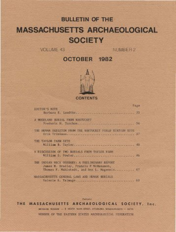 Bulletin of the Massachusetts Archaeological Society, Vol. 43, No. 2 ...