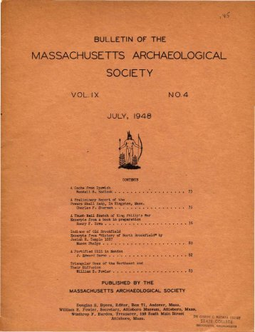 Bulletin of the Massachusetts Archaeological Society, Vol. 9, No. 4 ...