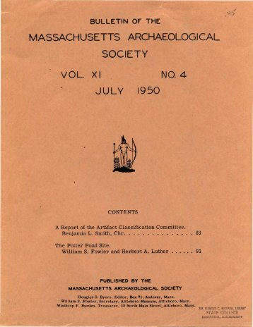 Bulletin of the Massachusetts Archaeological Society, Vol. 11, No. 4 ...