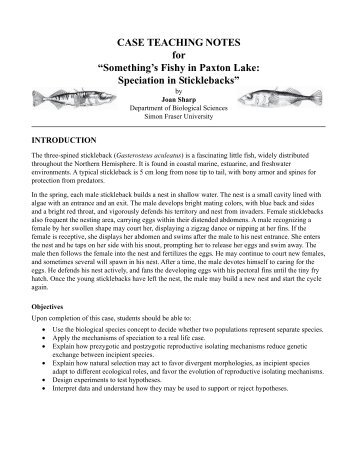 """CASE TEACHING NOTES for """"Something's Fishy in Paxton Lake ..."""