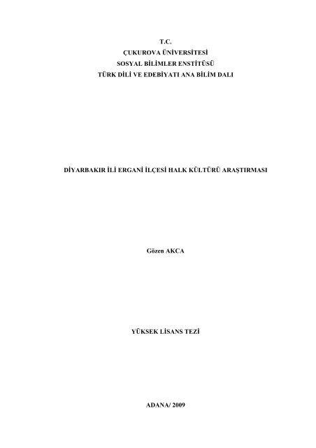 Tc Cukurova Universitesi Sosyal Bilimler Enstitusu Turk Dili Ve