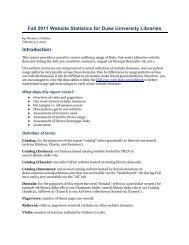 Fall 2011 Website Statistics report - Duke University Libraries