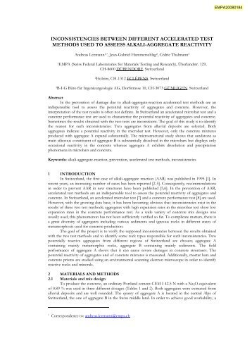 inconsistencies between different accelerated test methods used to ...