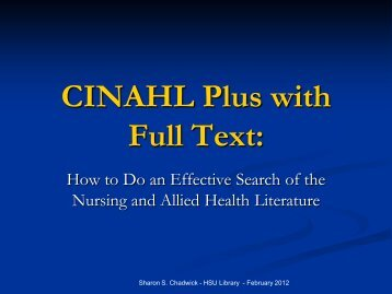 CINAHL Plus with Full Text: - HSU Library