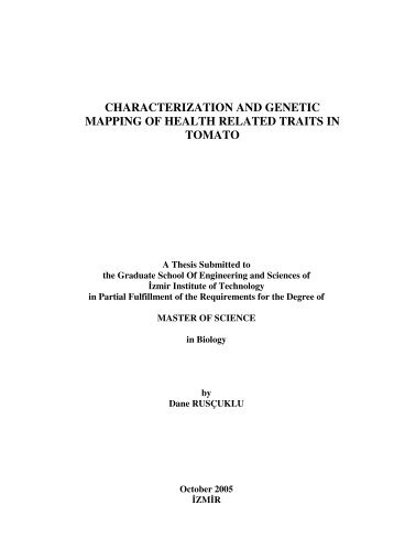 characterization and genetic mapping of health related traits in tomato