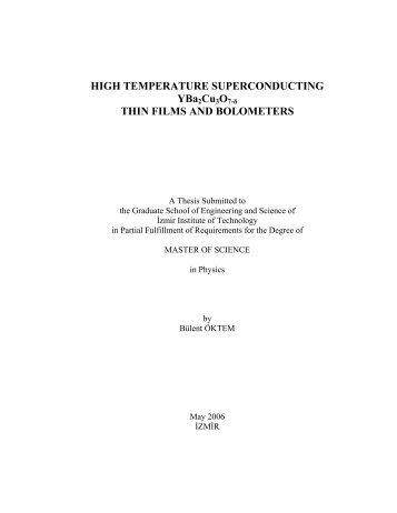 high temperature superconducting thin films and bolometers