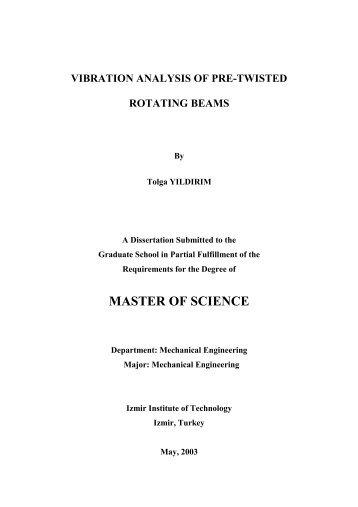 vibration analysis of pre-twisted rotating beams