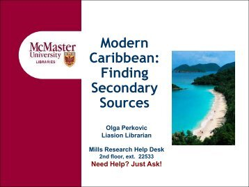 Finding Secondary Sources - McMaster University