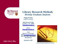 Library Research Methods for Divinity Graduate Students