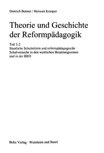 Theorie und Geschichte der Reformpädagogik