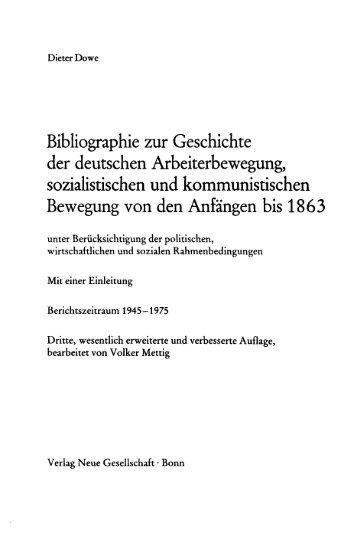 Bibliographie zur Geschichte der deutschen Arbeiterbewegung ...