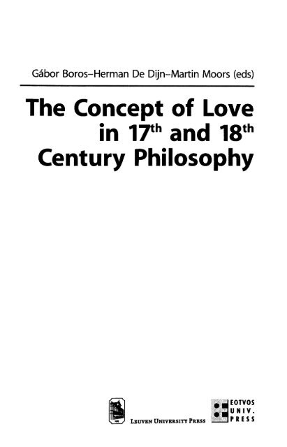 The Concept Of Love In 17th And 18th Century Philosophy