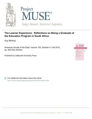 The Learner Experience: Reflections on Being a Graduate ... - NCRTM
