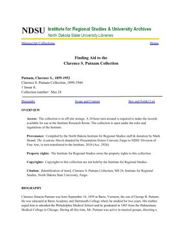 Finding Aid to the Clarence S. Putnam Collection - Libraries - NDSU