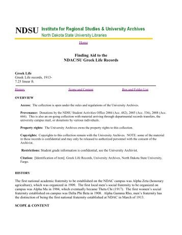 Fraternities, Sororities And Honor Societies - Libraries - NDSU