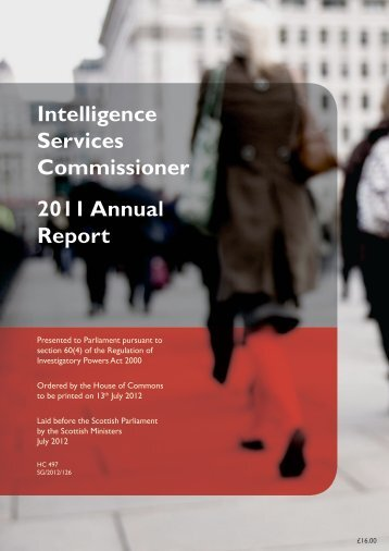 Intelligence Services Commissioner 2011 annual report - Official ...