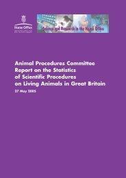 Animal Procedures Committee Report on the Statistics of Scientific ...