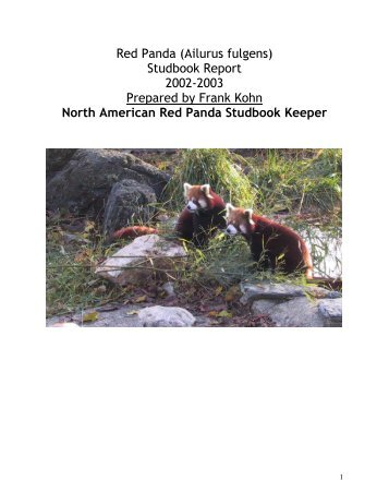 Red Panda (Ailurus fulgens) Studbook Report - Library - San Diego ...