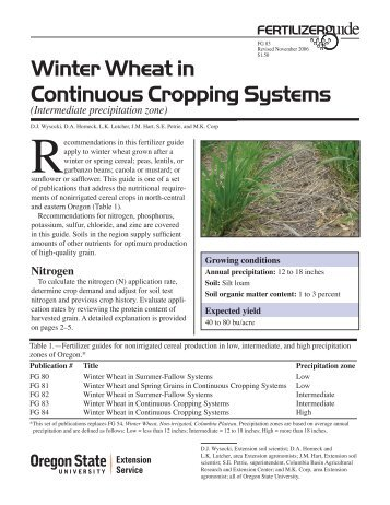 Winter Wheat in Continuous Cropping Systems, Intermediate ...