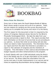 Bookbag - Winter 08- 8th woutmailpg - South Dakota State Library