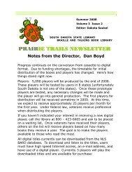 prair prairie trails newsletter ie trails newsletter - South Dakota State ...