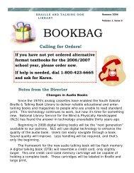 Bookbag - Summer 06.pub - South Dakota State Library