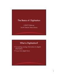 Digitization - South Dakota State Library