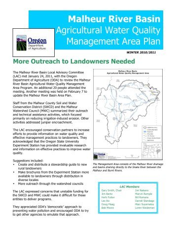 Malheur River Basin Agricultural Water Quality ... - State of Oregon
