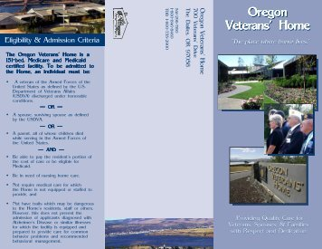 Oregon Veterans' Home Oregon Veterans' Home - Oregon State ...