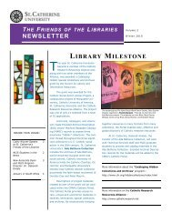 LIBRARY MILESTONE - College of St. Catherine Libraries - St ...