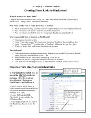 Creating Direct Links in Blackboard - College of St. Catherine Libraries