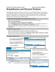 Rehabilitation and Physical Medicine - College of St. Catherine ...