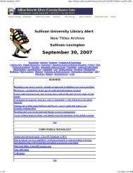 September 30, 2007 - Sullivan University   Library