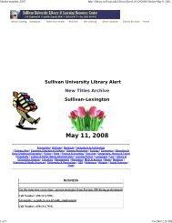 May 11, 2008 - Sullivan University | Library