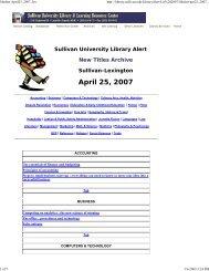 April 25, 2007 - Sullivan University | Library