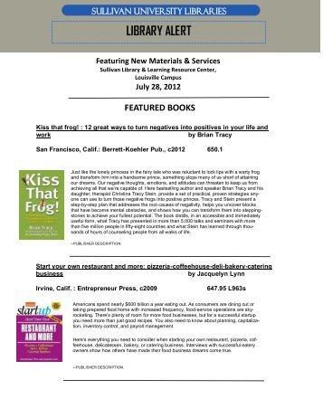 LIBRARY ALERT - Sullivan University | Library