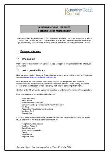 Sunshine Coast Libraries Loans Policy FINAL V1 19/04/2011 ...