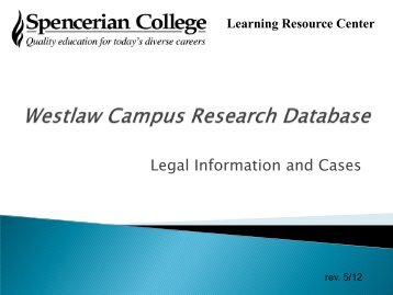 Westlaw Campus Research Database - Sullivan University | Library