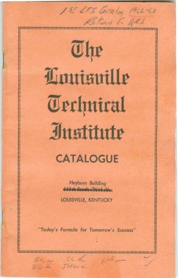 Course Catalog 1962-1963 - Sullivan University | Library
