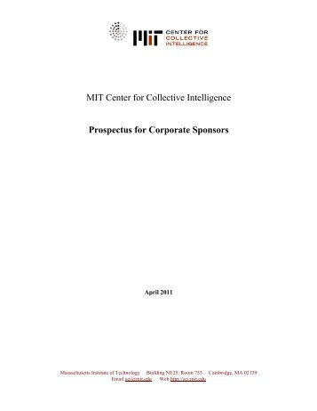 Prospectus for Corporate Sponsors - MIT Center for Collective ...