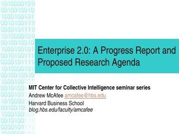 Enterprise 2.0 - MIT Center for Collective Intelligence