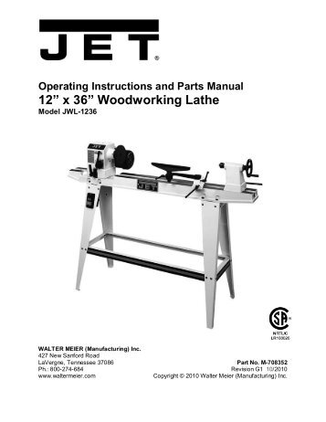 Owner S Manual Wl1200 12 Inch Wood Turning Lathe Ridgid