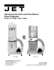 Operating Instructions And Parts Manual Dust Collector - JET Tools